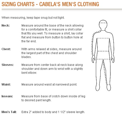 Таблица размеров интернет магазина Cabelas