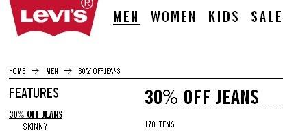 levi's распродается джинсы со скидкой в 30% и бесплатной достаовкой по штатам при заказе от 100 долларов